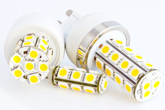Two LED bulbs G9 and one LED bulb G4 Royalty Free Stock Photography