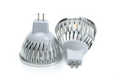 Two LED bulbs MR16. Isolate on white. Royalty Free Stock Photo