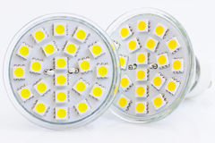 Two LED bulbs with warm and cold light. With 3-chip SMD LEDs Stock Photography