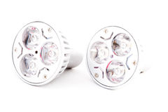 Two LED energy saving bulbs with warm light. Royalty Free Stock Images