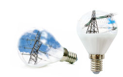 Two LED lamp with a picture of power lines inside Royalty Free Stock Images