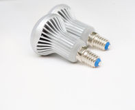 Two Led Light bulbs rear view on white Stock Photo