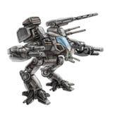 Two-legged het lopen gevechtsrobot Science fictionillustratie Royalty-vrije Stock Fotografie