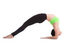 Two-Legged Inverted Staff yoga Pose Stock Photo