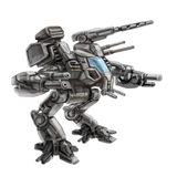 Two-legged walking combat robot. Science fiction illustration. Royalty Free Stock Photography