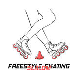 Two legs of roller with inline skates doing figure of freestyle slalom skating and title Freestyle Slalom Skating. Two legs of roller with put-on inline skates Royalty Free Stock Images