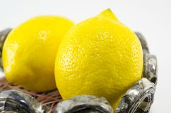 Two lemons in decorated bowl Stock Image