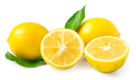 Two lemons with leaf Stock Photography