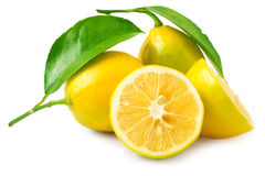Two lemons with leaf Stock Images