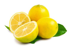 Two Lemons - one sliced in half Royalty Free Stock Photography