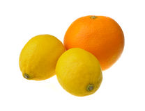 Two lemons and an orange Royalty Free Stock Image
