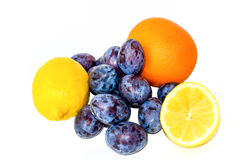 Two lemons, orange and plums isolated on white Stock Images