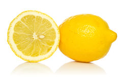 Two lemons with reflection Royalty Free Stock Photo