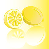Two lemons with reflection. Royalty Free Stock Photo