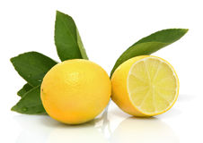 Two lemons on white background royalty free stock photos