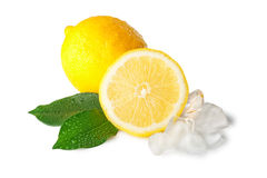 Two Lemons With Ice Stock Photos