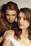 Two  lesbian. Two young girls tenderly embracing each other Stock Photo