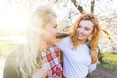Two lesbian girls at park in London Royalty Free Stock Photos