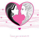 Two lesbian in love on the striped background. Same-sex love between beautiful women Royalty Free Stock Images