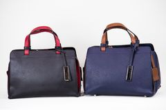 Fashionable women bags. Two lether fashionable women bags blue and black Stock Images