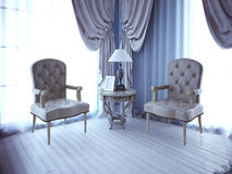 Two lether unpolstery armchair near window Stock Image