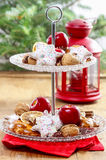 Two level dessert stand full of sweets Stock Photo