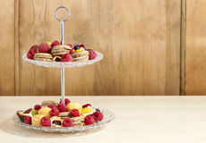 Two level dessert stand full of sweets Royalty Free Stock Images