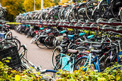 Two-level parking of bicycles. Den Haag - Holland. HAGUE, NETHERLANDS - OCTOBER 18, 2015: Two-level parking of bicycles.  Den Haag - Holland Stock Images