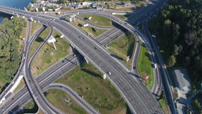 Two-level road junction, Kiev, Ukraine. Two-level   road junction on the Paton Bridge in Kyiv stock video footage