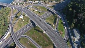 Two-level road junction, Kiev, Ukraine stock video footage