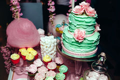 Two-leveled mint colored wedding cake with cream roses, macarons, and marshmallows. Candy Bar in pinky colors. Sweet. Holiday buffet with different desserts Royalty Free Stock Photo