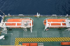 Life boat or survival craft at muster station in offshore oil and gas field. Two Life boat or survival craft at muster station of oil and gas accommodation Royalty Free Stock Images
