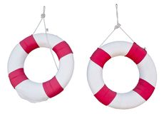 Two Life Buoy Hanging on White Background. Two Red Life Buoy for Swimming Pool Isolated on White Background Stock Photos