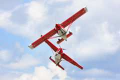 Two light airplanes Stock Photography