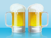 Two light beer mugs Stock Images