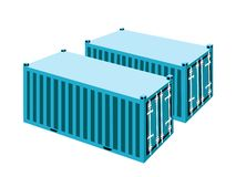 Two Light Blue Cargo Containers on White Backgroun Royalty Free Stock Images