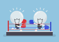 Two light bulb wearing boxing gloves fighting in boxing ring. Concept of the competition of ideas royalty free illustration