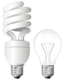 Two Light Bulbs. Efficient Compact Fluorescent Light Bulb Royalty Free Stock Images