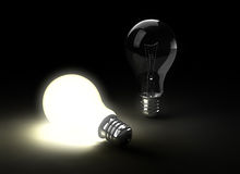 Two light bulbs stock illustration