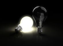 Two light bulbs Royalty Free Stock Photo