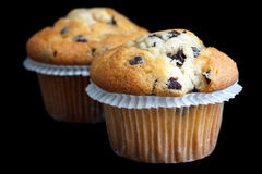 Two light chocolate chip muffins in wax liner on black Stock Image