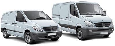Two light commercial vehicles Royalty Free Stock Images