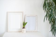 Two light frames on a bedside table. With flowers Royalty Free Stock Photos