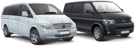 Two light passenger vans Stock Images