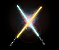Two light sabers crossing together  on black.  Stock Image