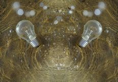 Two lightbulbs coming up from water. royalty free stock images
