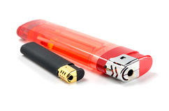 Two lighters. Large and small on white background Stock Photo