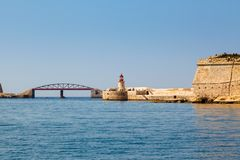 Two lighthouse in Grand Harbour. (Valletta, Malta Royalty Free Stock Image