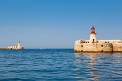 Two lighthouse in Grand Harbour. (Valletta, Malta Royalty Free Stock Photo