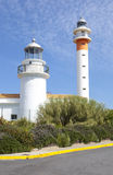 Two lighthouses in El Rompido, Huelva, Spain. Two lighthouses in El Rompido, Cartaya, Costa de la Luz, Huelva region, Andalucia, Spain, Europe royalty free stock photo